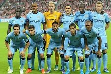 MAN CITY 2014-15 FOOTBALL TEAM PHOTO UCL v BAYERN MUNICH SEPT 2014 PICTURE