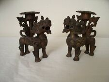 """3.5"""" Old Chinese Brass Bronze Lion Foo Dog Beast Candle Holder Candlestick Pair"""