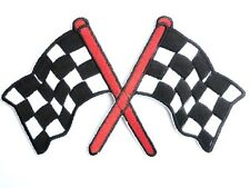 Checkered Flag F1 Racing Motorsports Sew Iron On Embroidered Shirt Hat Patch