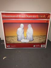 NEW White Marble Blow Mold Nativity Lighted Set Mary/Joseph/Jesus Christmas!