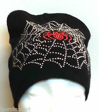 Single Men's Women Knit Ski Cap Hip-Hop Black Unisex Hat w/ Spider Web Beads