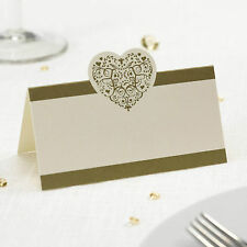 50 TABLE PLACE CARDS Wedding VINTAGE ROMANCE Heart IVORY GOLD Name Engagement