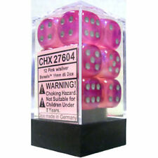 Chessex Dice: Borealis Pink with Silver Six Sided Die d6 Set (12) CHX 27604