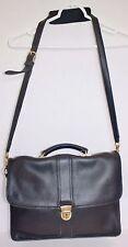 M London Black Leather Craft Briefcase Portfolio Attaché Business Shoulder Bag