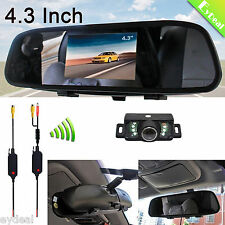 "4.3"" Car LCD Mirror Monitor +Wireless Rear View Backup With Night Vision Camera"