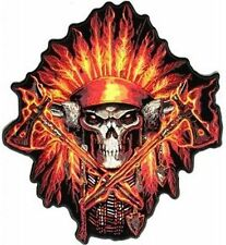 Firefighter Fireman Skull Native Indian Embroidered Biker Back Patch LRG-0401