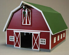 MTH RAIL KING LIGHTED RED BARN W/GREEN ROOF o gauge train farm animal 30-90407