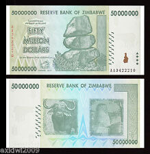 Zimbabwe 2008 50 Million Dollars P-79 AA Prefix Mint UNC Uncirculated Banknotes