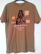 "Small Light Brown Chunk Graphic T-Shirt, Star Wars Darth Vader ""Anger"" Design"