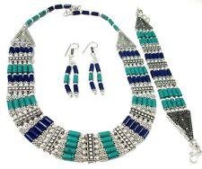 Tibetan Lapis Lauzil With Turquoise 925 Silver Necklace Earring & Bracelet Set