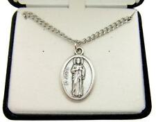 MRT St Saint Jude Oxidized Silver Tone Medal Gift w Box & Steel Chain 3/4""
