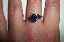 10k Yellow Gold Sapphire Diamond Accent ring size 7 Vintage