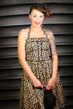Vintage inspired leopardprint rockabilly swing dress halterneck leopard print