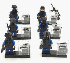 Custom police anti-émeute hommes swat armée squad troupes 6 minifigures & Lego briques