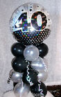 """AGE 40 40TH BIRTHDAY 18"""" FOIL BALLOON TABLE DISPLAY DECORATION AIRFILL NO HELIUM"""