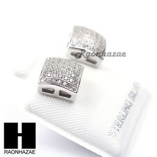 Iced Out Sterling Silver .925 Lab Diamond 8mm Square Screw Back Earring SE020S