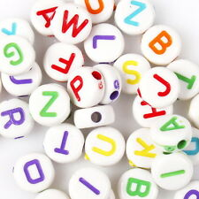 500pcs Colorful Letters White Tone Oblate Small Acrylic Charms Spacer Beads 7mm