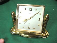 IMHOF of Swiss 8 Day Alarm Clock Brass finish Runs Great Guaranteed Item