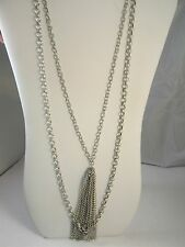 Avon Silver Tone Double Strand Chain Link Necklace Long Hanging Chain Tassels