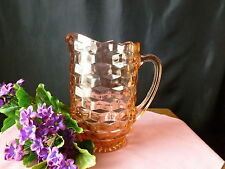 "Antique Vintage Depression Glass Pitcher ""Cubist"" Pink 8 1/2"""