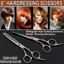 "6"" Pro barber Hair Cutting & Thinning Scissors Shears Hairdressing Set Salon"