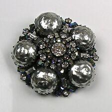 Stunning RARE Vintage Schreiner Brooch Pin  Large Grey Pearls  Aurora Borealis