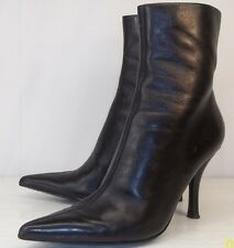 Nine West BHAVINO Womens US 6 M Black Leather Zip-Up Dress Pointed Ankle Boots