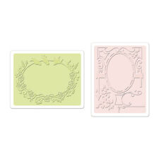 SIZZIX TEXTURED IMPRESSIONS 2 Embossing Folders BIRD & GARDEN GATE SET 657662 *