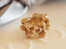 Authentic Pandora 14ct 14k Gold 'Row of Flowers' Floral Spacer 750378