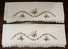 Pair of 2 Embroidered Pillowcases w/ Crocheted Lace Trim ~ BUTTERFLIES