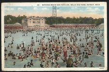 Detroit Michigan-Wayne County-Belle Isle Park - 1929-u.s.a - BATHING Beach/Pavilion