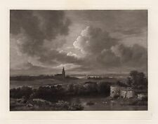 "Antique Salmon van RUYSDAEL 1800s Etching ""View of Village Churches"" FRAMED COA"