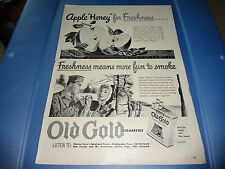 """1943 Old Gold Cigarettes Vintage Magazine Ad """"Freshness means more fun to smoke"""""""