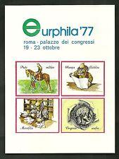 FRANCOBOLLO I.P.Z.S. ITALIA 1977 FOGLIETTO CHIUDILETTERE EURPHILA '77 ROMA