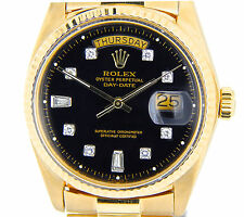 Rolex Solid 18k Yellow Gold Day Date President Watch w/ Black Diamond Dial 1803