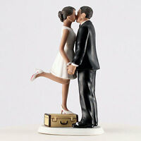 A Kiss and We're Off Medium Skin Tone Fun Couple Wedding Cake Topper