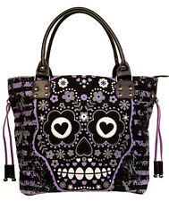Banned Sugar Skull Candy Shoulder Handbag School Gothic Rockabilly Black Purple