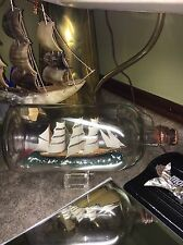 VINTAGE 11 1/2 Inch Ship In A Bottle! 5 Mast?