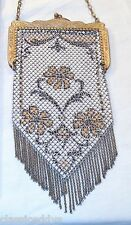 MANDALIAN 1920s ART DECO FLAPPER FLORAL MESH HAND BAG WITH SWAG FRINGE