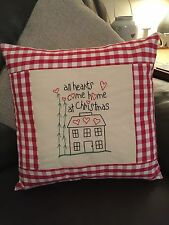 "Christmas Cushion Cover Embroidered Design Laura Ashley Red Gingham 16"" Shabby"