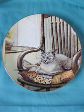 "Quiet Moments grey cat on chair decorative plate 8.5"" 11174,  Zoes Cats book"