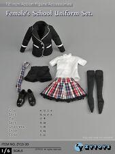 """ZY Toys 1/6 Women Female Clothes Black School Uniform  F 12"""" Figure ZY15-30"""