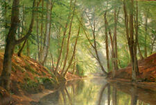 Stunning Oil painting nice summer landscape Woodland river with forest canvas