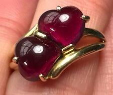 14k Yellow Gold Purple Garnet Cabochon Ring.  Two Heart Shaped Stones.