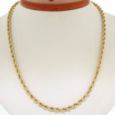 "14K Solid Yellow Gold 18"" 4.20mm Thick Rope Chain Necklace w/ Barrel Clasp 9.89g"