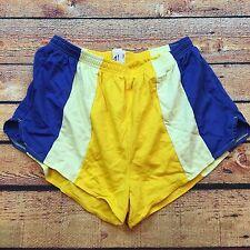 70s 80s VTG RUNNING Short HIGH CUT GLANZ Yellow Blue XXL COLORBLOCK SURF Beach