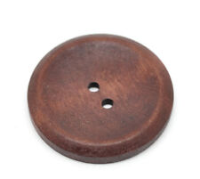20 Wooden Buttons Wood 2 Holes Round 40mm Brown Clothing Scrapbook Sewing