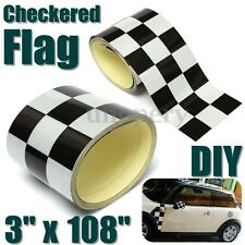 3'' Black/White Checkered Flag Vinyl Decal Tape Car Motorcycle Bike Tank Sticker
