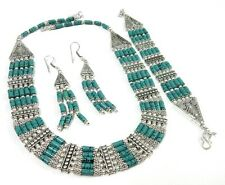Attractive! Tibetan Turquoise 925 Silver Plated Necklace Earring & Bracelet Set