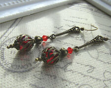 VINTAGE STYLE DANGLE DROP EARRINGS STEAMPUNK Deco Red gothic